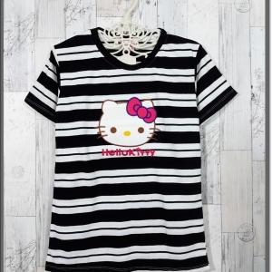 blouse3325 เสื้อยืดแฟชั่น แต่งหน้าคิตตี้ ผ้าโปโลยืดเนื้อนิ่มลายริ้วเล็ก-ใหญ่ สีขาวดำ