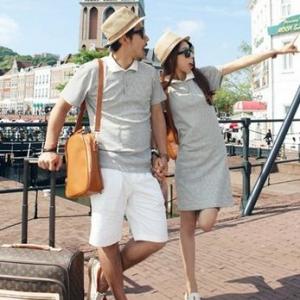 ชุดคู่รักเกาหลี พร้อมส่ง ลายขวางเทาดำ เก๋ๆ ราคา/คู่