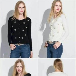 blouse3453-3454 งานนำเข้าสไตล์เกาหลี เสื้อคลุมแขนยาว กระดุมหน้า เนื้อผ้าหนานุ่ม มี 2 สี ครีม ดำ ขนาด Free Size