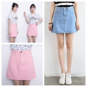 Skirt307 กระโปรงยีนส์ทรงเอ ซิปหน้า กระเป๋าข้าง ผ้ายีนส์แท้เนื้อดีนิ่มใส่สบาย งานน่ารัก แมทช์กับเสื้อได้หลายแบบ มี 2 สี สียีนส์, ชมพู