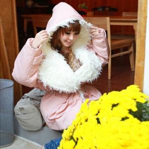 Sweet and cute casual loose hooded warm cotton jacket เสื้อกันหนาวทรงสวย สีชมพูหม่น น่ารักมาก แบรนด์ RJ STORY แท้ พร้อมส่ง