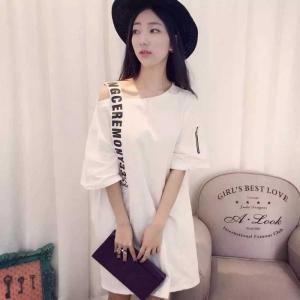 สีขาว : เสื้อแฟชั่นตัวยาว สุดแนว สาวไซส์เล็กใส่เป็นเดรสได้เลยค่า แต่งสายพาดโชว์ไหล่ พร้อมส่ง