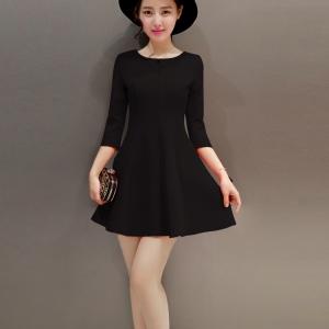 dress3618 งานนำเข้า ชุดเดรสสีดำทรงสวย แขนสามส่วน ผ้าเนื้อหนายืดได้