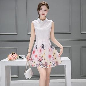 Dress3803 งานนำเข้าสไตล์เกาหลี เดรสคอปกผ้าแก้วผสมลูกไม้ ซิปหลังใส่ง่าย มีซับในทั้งชุด ผ้าชีฟองลายเชิงดอกไม้โทนสีชมพู งานดีสวยเรียบหรู ใส่ออกงานได้