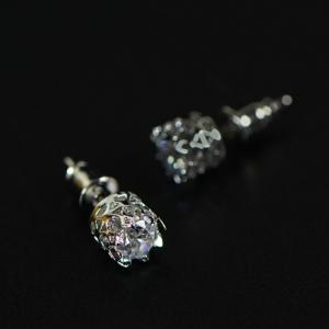 ตุ้มหู,ต่างหูชุบทองคำขาว18Kรูปมงกุฎแต่งคริสตัล