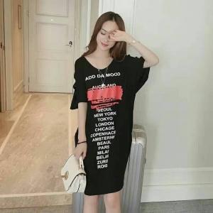 dress3608 งานนำเข้าแบรนด์เกาหลี Plus Size ชุดเดรสแฟชั่นไซส์ใหญ่ สกรีนลาย ผ้ายืดคอตตอนผสมสแปนเนส สีดำ