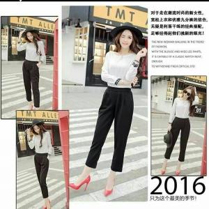 Set_bt1320 งานนำเข้าสไตล์เกาหลี ชุด 2 ชิ้น(เสื้อ+กางเกง)แยกชิ้น เสื้อแขนยาวผ้าเนื้อดีสีขาว+กางเกงขายาวเอวสม็อคกระเป๋าข้างสีดำ ผ้าเนื้อดีหนานุ่มยืดได้เยอะ