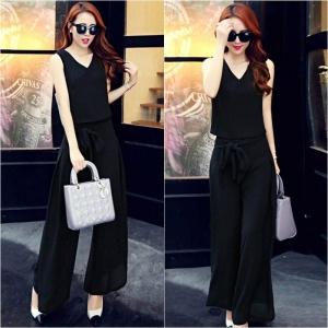 Set_bt1289 งานนำเข้าสไตล์เกาหลี ชุดเซ็ท 2 ชิ้น(เสื้อ+กางเกง)แยกชิ้น เสื้อแขนกุดคอวี+กางเกงขายาวมีผ้าผูกเอว ผ้าชีฟองเกรดเอสีพื้นดำ มีซับในอย่างดีทั้งชุด