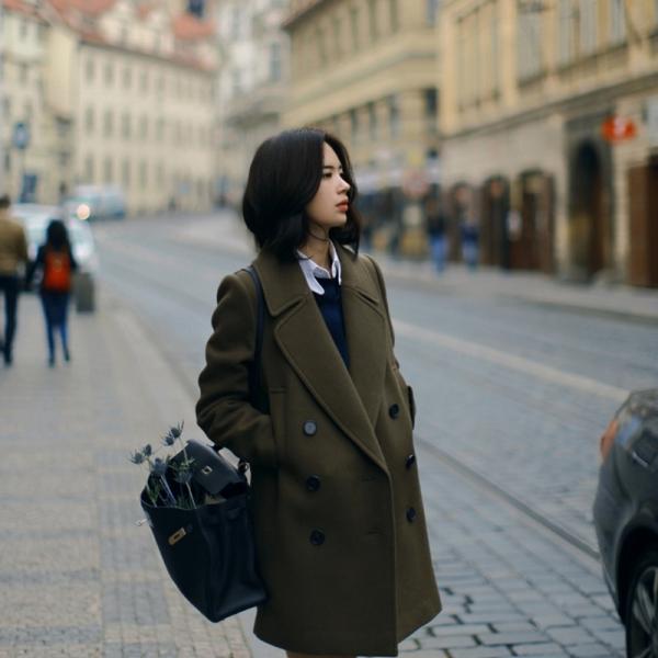 เสื้อโค้ทกันหนาว สไตล์ญี่ปุ่น ผ้าวูลเนื้อนิ่ม บุซับในกันลม พร้อมส่งจ้า