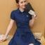 **สินค้าหมด Dress4033 เดรสคอปกกระดุมหน้ามีผ้าผูกเอว หน้าอกปักอาร์มเพิ่มความน่ารัก ผ้าคอตตอนผสมโพลีสีพื้นเนื้อดีหนาสวยเกรดพรีเมียม งานน่ารัก ใส่เก๋ๆ ได้บ่อยจ้า (สีพื้นกรมท่า) thumbnail 2