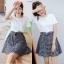 **สินค้าหมด Dress4100-Size-XL เดรสน่ารักผ้าคอตตอนเนื้อหนานุ่มสีพื้นขาว ตัดต่อกระโปรงผ้าทอญี่ปุ่นลายสก็อตโทนสีขาวดำ thumbnail 3