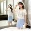 **สินค้าหมด Dress4030 ชุด 2 ชิ้น(เสื้อ+เดรส) เสื้อแขนสั้นเอวรูดพิมพ์ลายกระต่ายสีพื้นขาวครีม เดรสตัวในลายริ้วสีฟ้าขาวมีกระเป๋าข้างผ้าคอตตอนเนื้อนุ่มใส่สบายยืดขยายได้ งานสวยใส่ง่ายน่ารักมาก thumbnail 14