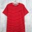 LOT SALE!! Blouse3377-1 เสื้อยืดแฟชั่น อกปักรูปนกสไตล์ CC-OO ผ้าคอตตอนยืดเนื้อนิ่มลายริ้ว สีแดง Size M thumbnail 1