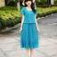 Dress4121-Blue Maxi Dress ชุดเดรสยาวทรงสวยสีพื้นฟ้าเข้ม แขนบัว เอวสม็อคยางยืด ช่วงกระโปรงอัดพลีท ผ้าชีฟองสีพื้นเนื้อหนาสวยเกรดพรีเมียมเนื้อดีไม่บางมีน้ำหนักทิ้งตัวสวย มีซับในอย่างดี งานดีดูสวยแพง ดีเทลดีงามดีไซน์เหมือนใส่สองชิ้น thumbnail 1