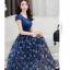 Dress4141 Maxi Dress แม็กซี่เดรสยาวสีพื้นตัดต่อกระโปรงลายดอกไม้โทนสีน้ำเงิน มีซับใน ซิปข้างใส่ง่าย ผ้าชีฟองเนื้อดีนุ่มทิ้งตัวสวย งานดีทรงดี ใส่ออกงานได้ thumbnail 3