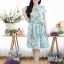 เดรสทรงซาร่าผ้ามิลินลายดอก + แถมผ้าคาดเอว ซิปซ้อนด้านหลัง(ซับในไฮเกรดทั้งชุด) thumbnail 2