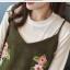 Set_bs1607 ชุด 2 ชิ้น(เสื้อ+เอี๊ยม) เสื้อแขนยาวผ้าคอตตอนเนื้อดีสีพื้นขาวครีม เอี๊ยมกระโปรงแต่งลายปักดอกไม้ผ้ากำมะหยี่เนื้อดีหนานุ่มมีน้ำหนักทิ้งตัว งานดีดูสวยแพง ทรงดีสีสวย งานสวยเหมือนราคาหลักพัน มีติดตู้ไว้ใส่ได้เรื่อยๆ thumbnail 18