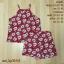Set_bp1042 ชุดเซ็ท 2 ชิ้น(เสื้อ+กางเกง) เสื้อสายเดี่ยวไหล่ล้ำ+กางเกงขาสั้นเอวยืด ผ้าไหมอิตาลีเนื้อนิ่มลายดอกไม้พื้นสีแดง thumbnail 1