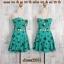 Dress2241 เดรสแฟชั่นเกาะอกเสริมฟองน้ำบาง ซิปหลัง เว้าเอว ผ้าฮานาโกะลายแตงโมเล็ก สีเขียวมิ้นท์ thumbnail 1