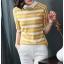 Blouse3679 เสื้อไหมพรมเนื้อนุ่มลายริ้วสลับสีขาว คอปก มีกระดุมคอหลังใส่ง่าย งานถักเนื้อแน่นสวยผ้านุ่มใส่สบายยืดขยายได้เยอะ งานสวยแมทช์ง่าย งานดีใส่สวยใส่สบาย มี 2 สี เหลือง, กรม thumbnail 4