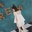 Set_bp1560 ชุดเซ็ท 2 ชิ้น(เสื้อ+กางเกง) เสื้อกล้ามทรงวงกลมชายบานแต่งสายบ่าหัวเข็มขัดเท่ๆ เก๋ๆ มีซิปข้าง กางเกงขาสั้นซิปหน้ากระเป๋าข้าง งานผ้าฮานาโกะเนื้อดีหนาเรียบสวยไม่ยับง่าย เซ็ทสองชิ้นสวยคุ้ม งานน่ารัก แบบสวยไม่ซ้ำใคร (สีพื้นขาว) thumbnail 9
