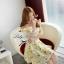 พร้อมส่ง - Size M Lady Daisy Ribbon Off-shoulder Mini dress : มินิเดรสเปิดไหล่โบว์ลายดอกเดซี่โทนสีเหลือง thumbnail 5