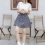 **สินค้าหมด Dress4100-Size-XL เดรสน่ารักผ้าคอตตอนเนื้อหนานุ่มสีพื้นขาว ตัดต่อกระโปรงผ้าทอญี่ปุ่นลายสก็อตโทนสีขาวดำ thumbnail 11