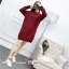 Sweater สีแดง เสื้อไหมพรมถักคอตั้งตัวยาว ใส่ตัวเดียวเป็นเดรสได้เลย เก๋ๆ ไหมพรมนุ่มยืดได้เยอะ thumbnail 2