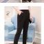 Trousers488 กางเกงขายาวสีพื้นดำ เอวสม็อคยางยืดด้านหลัง กระเป๋าสองข้าง ผ้าเนื้อดีหนานุ่มยืดขยายได้เยอะ งานดีทรงสวยแมทช์กับเสื้อได้หลายแบบ thumbnail 2