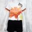 Set_bp1244-1246 ชุดเซ็ท 2 ชิ้น(เสื้อ+กางเกง)แยกชิ้น เสื้อแขนสั้นพิมพ์ลายผีเสื้อดอกไม้โทนสีขาวส้ม+กางเกงขาสั้นสีดำผ้าคอตตอนเนื้อหนา thumbnail 1