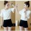 **สินค้าหมด Set_bp1548 ชุด 2 ชิ้น(เสื้อ+กางเกง) เสื้อแขนสามส่วนระบายอกแต่งลูกไม้ผ้าชีฟองเนื้อนุ่มสีพื้นขาว+กางเกงขาสั้นเอวยืดผ้าคอตตอนเนื้อดีสีพื้นดำ งานสวยน่ารักผ้าเนื้อดีนุ่มใส่สบาย ผ้าสวยเกินราคา แมทช์กันได้อย่างลงตัว thumbnail 1