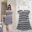 **สินค้าหมด Dress3677 ชุดเดรสน่ารักลายริ้วโทนสีขาวดำ ผ้าเนื้อนุ่มใส่สบาย thumbnail 2