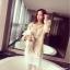 **สินค้าหมด Dress3753 Sweater Dress ชุดเดรสแขนยาวผ้าไหมพรมถักนิดติ้งชายลูกไม้ สีครีม thumbnail 1