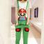 ชุดเอี๊ยม สีเขียว jumpsuit Super Mario เอวยืด พร้อมสายเอี๊ยมแบบถอดได้ น่ารักมากๆ thumbnail 1