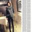 ผ้าพันคอกันหนาว ไหมพรม เกาหลี สีเทาลาย ดูดีไฮโซ พร้อมส่ง thumbnail 2