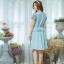 Newเดรสผ้าโอซาก้าแต่งด้วยผ้าแคนวาสลายดอกไม้ แต่งระบายเอว (มีซับในไฮเกรดทั้งตัวค่ะ) thumbnail 3