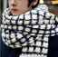 ผ้าพันคอกันหนาว ไหมพรม เกาหลี ลายตาราง ขาวดำ พร้อมส่ง thumbnail 1