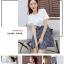 **สินค้าหมด Dress4100-Size-XL เดรสน่ารักผ้าคอตตอนเนื้อหนานุ่มสีพื้นขาว ตัดต่อกระโปรงผ้าทอญี่ปุ่นลายสก็อตโทนสีขาวดำ thumbnail 8