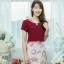 เดรสผ้าบุชเซอร์พิมพ์ลายดอก + ผ้าฮานาโก๊ะ ซิปซ้อนด้านหลัง(ซับในไฮเกรดทั้งชุด) thumbnail 3