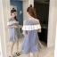 **สินค้าหมด Dress4157 เดรสทรงปล่อยเว้าไหล่แต่งระบายสีขาวช่วงอก ผ้าคอตตอนลายริ้วเนื้อดีนุ่มใส่สบาย งานสวยใส่ง่ายน่ารักมาก ทรงนี้มีติดตู้ไว้ใส่ได้เรื่อยๆ มี 2 สี แดง, กรม thumbnail 13