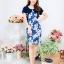 NEW เดรสผ้าลินิลลายทางเชิงดอกไม้กั้กHanako ซิปซ้อนด้านหลัง (ซับในไฮเกรดทั้งชุด) thumbnail 1