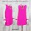 Dress3117 ชุดเดรสทรงสวย คอปก แขนยาวผ้าแก้ว สีชมพูช็อคกิ้งพิ้งค์ thumbnail 1