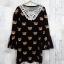 Dress3445 Big Size Dress ชุดเดรสแฟชั่นไซส์ใหญ่คอลูกไม้ถัก แขนกระดิ่ง ผ้าหนังไก่เนื้อนุ่มยืดได้เยอะ ลายหมีพื้นสีดำ thumbnail 1