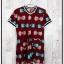 Jumpsuit635 Big Size Jumpsuit จัมพ์สูทไซส์ใหญ่ คอวี ซิปหน้า ผ้าหนังไก่เนื้อนุ่มลายโบว์ขาวฟ้า พื้นสีเลือดหมู thumbnail 1