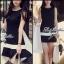 พร้อมส่ง - Dorothy Little Black Dress Pleats Trim Size M : มินิเดรสสีดำตัดขอบขาวที่กระโปรง thumbnail 2