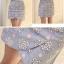Skirt322 กระโปรงป้ายซิปหลังผ้ายีนส์นิ่มลายดอกไม้โทนสีฟ้า งานน่ารักผ้าเนื้อดี แมทช์กับเสื้อได้หลายแบบ thumbnail 2
