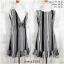 LOT SALE!! Dress3504 ชุดเดรสน่ารัก แต่งโบว์ด้านหลัง ชายระบาย ผ้าไหมอิตาลีเนื้อนิ่มลายริ้ว สีดำ thumbnail 1