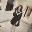 Dress4170 ชุดเดรสแขนยาวชายระบายอัดพลีททรงปล่อยสีดำ แต่งระบายเล็กๆ สีขาวช่วงอกเพิ่มความน่ารัก งานเป็นทรงฟรีไซส์ ผ้าเนื้อดีนุ่มใส่สบาย งานสวยใส่งายน่ารักมาก thumbnail 2