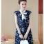 Dress4155 ชุดเดรสไซส์ใหญ่ทรงปล่อยลายดอกไม้โทนสีกรม กระดุมหน้า ผูกโบว์คอ มีซับในอย่างดีทั้งชุด ผ้าชีฟองเกรดพรีเมียมเนื้อดีนุ่มสวยใส่สบาย งานดีดูสวยแพงผ้าดีเหมือนราคาหลักพัน มีติดตู้ไว้ใส่ได้เรื่อยๆ thumbnail 3