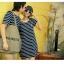 พร้อมส่ง - ชุดคู่รัก เกาหลี ลายขวาง น่ารัก ราคา/คู่ thumbnail 5
